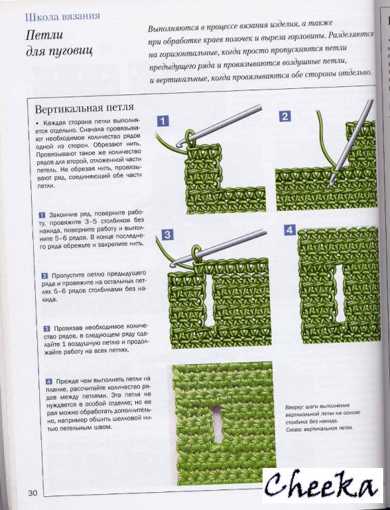 Вязание спицами прорамка для пуговиц 68