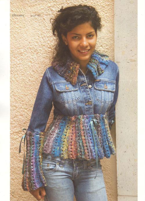 Вязание с джинсовой тканью 830