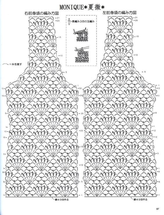 Схемы вязания крючком женской кофты