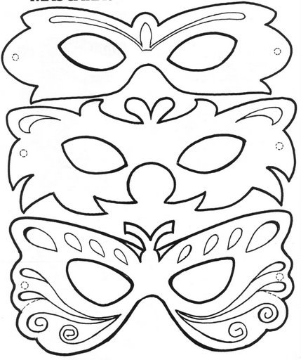 Раскраска маска новогодняя