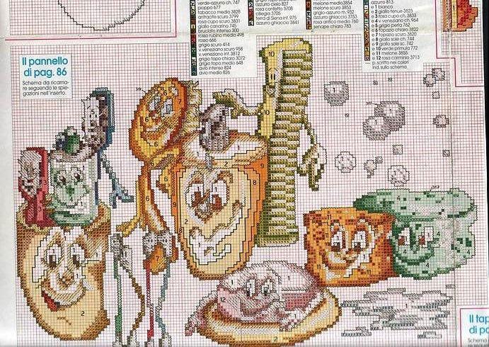Схема вышивки крестом для ванной и туалета 59