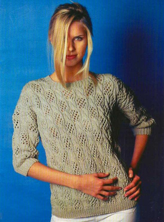 Вязание женских пуловеров спицами из тонких ниток 76