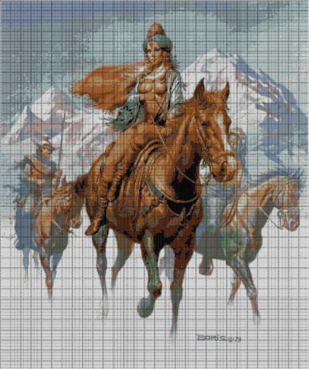 Вышивка амазонка с лошадью 51