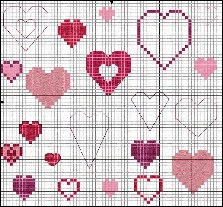 Вышивки сердца схемы 58