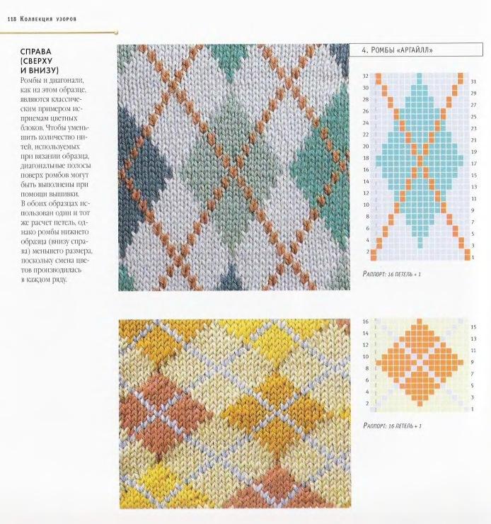 Многоцветное вязание. Вязание орнамента. Вязание 48