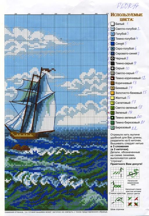 Вышивка крестом морские пейзажи и схемы к ним 827