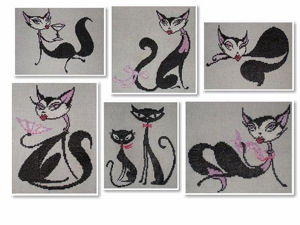 Белый и черный коты вышивка