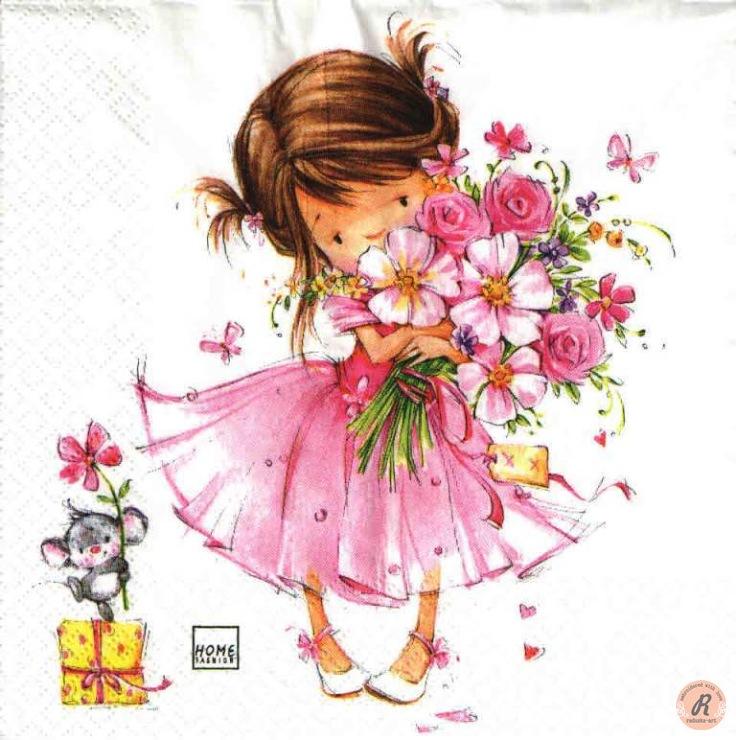 Девочка с цветами открытка 81