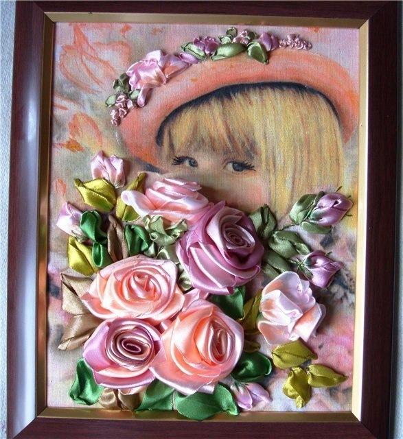 Картина девочка с цветами своими руками 49