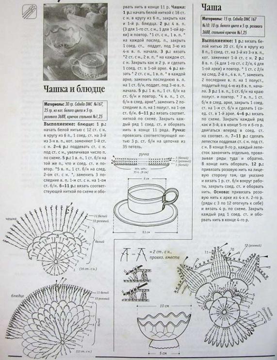 Вязание крючком схемы чайный сервиз